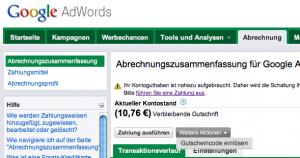 AdWords - Gutscheineingabe