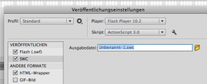 Veröffentlichungseinstellungen in Flash