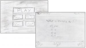 Erste Skizze des Menüs (links), erste Skizze des Spieles (rechts)